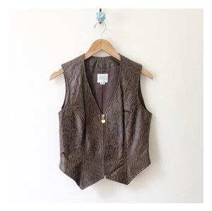 🆕 vintage VAKKO snake print leather bad moto vest